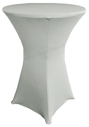 Wedding Linens Inc. Wholesale (200 GSM) 30 in x 42 in Cocktail Highboy Spandex Stretch Fitted Round Table Cover Tablecloths Silver (Wholesale Fabric Tablecloth)