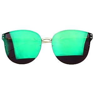 Women's Large Rimless Flat Vibrant Mirrored Lens Fashion Cat Eye Sunglasses (Gold, Midnight Green)