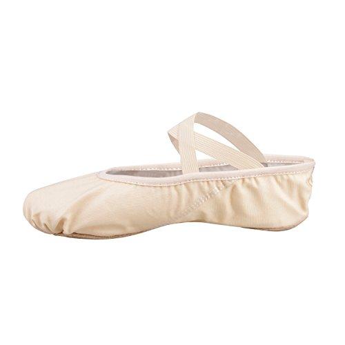 Ballets toile Danse de Split chaussures plates Gymnastique chaussons pour les filles des femmes Mesdames (prendre une taille au-dessus) Light Pink