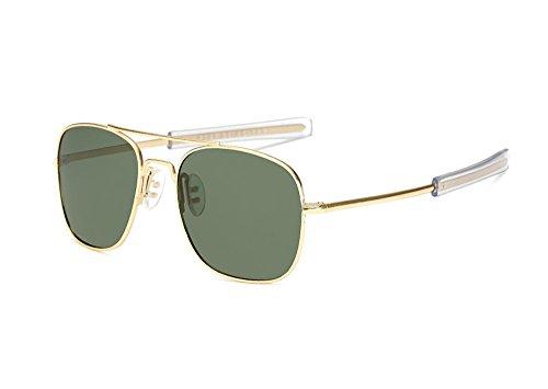 Nueva retro de polarizada del cuadradas UV400 Verde sol protección Oscuro metal las Oro gafas aviador marco de de del Bg6Bprqw