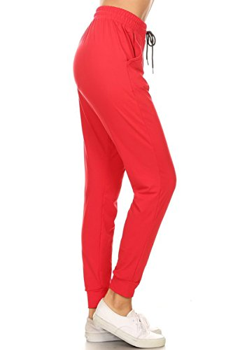 - Leggings Depot JGA128-RED-M Solid Jogger Track Pants w/Pockets, Medium