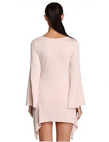 PU&PU Robe Aux femmes Trapèze Simple / Street Chic,Couleur Pleine Col Arrondi Asymétrique Coton / Polyester , purple-m , purple-m