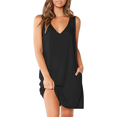 (CmmYYrei Women Sleeveless Dress Fashion Sexy V Neck Solid Color Casual Pocket Loose Summer Party Mini Dress Black)