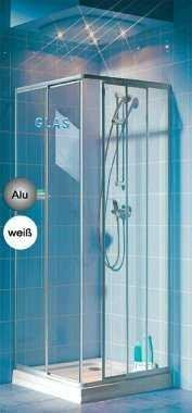 Eckeinstieg Duschkabine Echtglas Sicherheitsglas Silberne Profile Links 68 bis 83 und Rechts 68 bis 83cm Sondermass