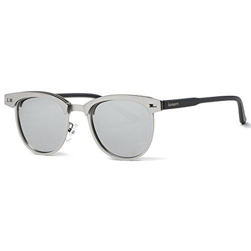 0b6b382c63 Kimorn Polarized Sunglasses Semi-Rimless Metal Frame Classic Sun Glasses  K0558 (Silver) - Buy Online in Oman.