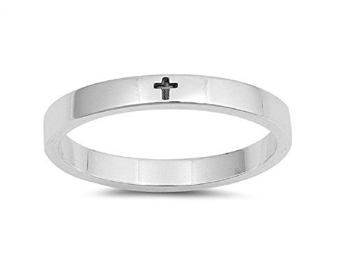 High Polished Sterling Silver Little Cross Band Ring Size 4 Silver Little Cross