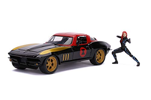 """Marvel 1:24 1966 Chevy Corvette Die-cast Car with 2.75"""" Black Widow Figure, Toys for Kids and Adults"""