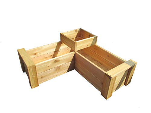 L-Shaped Multi-Level Patio Garden Planter with Full Floor by Infinite Cedar ()