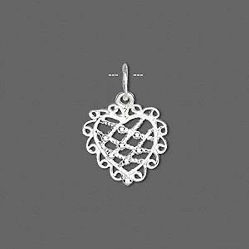 22X15X4Mm 1 Sterling Silver Lacy Heart Charm with Jumpring