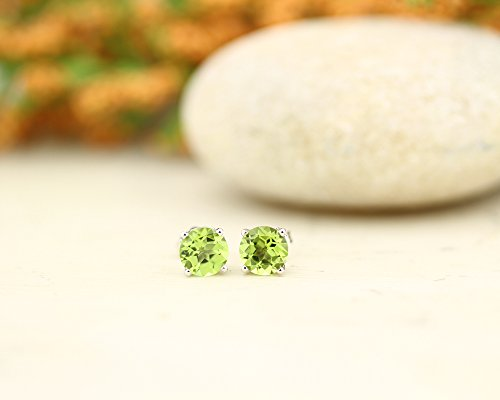 Solid 14k White Gold Gemstone Stud Earrings, 6mm Round each