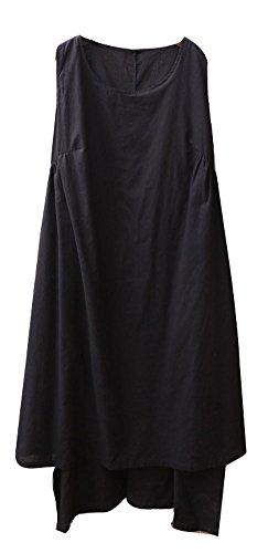 Linge De Coton Femmes Manches Soojun Une Double Ligne Robes De Laye Noir