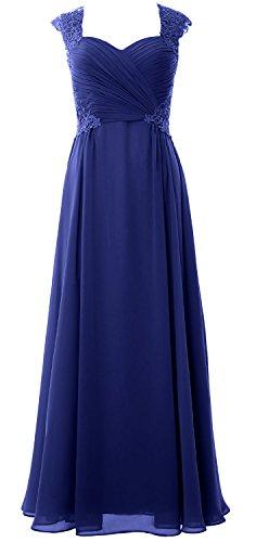 MACloth Women Cap Sleeve Chiffon Long Prom Dress 2017 Wedding Party Formal Gown Azul Real