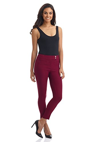 Rekucci Women's Ease in to Comfort Slim Ankle Pant with Snaps (4,Burgundy)