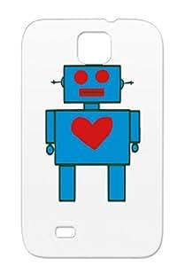 Navy Nerdy Robotics Geek Heart Cute Robot TPU Anti-scratch For Sumsang Galaxy S4 Heart Robot Case