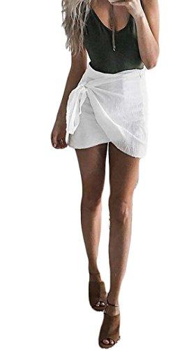 Zaaale Womens Casual Drape Asymmetrical Wrap Front Short Mini Bodycon Pencil Skirt (L, (Drape Front Short)
