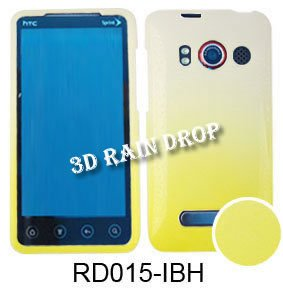 HTC EVO 4G 3d Rain Drop Yellow White Case Cover Housing New Snap On Protector