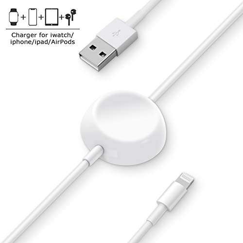 Price comparison product image Charger for Apple Watch, i Watch Charger, 2 in 1 Phone Charger, Portable Charger fit for Apple Watch Series 4 / 3 / 2 / 1,  i Phone XS Max / XS / XR / 8 Plus / 8 / 7Plus / 7 / 6Plus / 6 / iPad4 / iPad Air / iPad Mini(3.9ft / 1.2m)