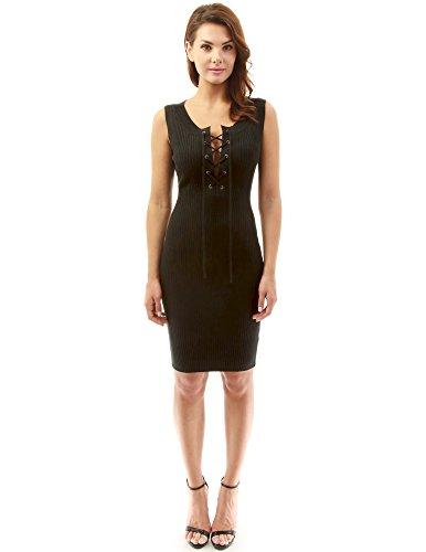 PattyBoutik Mujer Profundo v encaje hasta vestido de punto cosida negro