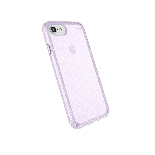 Speck Products Compatible Phone Case for Apple iPhone 8/iPhone 7/iPhone 6S/iPhone 6, Presidio Clear + Glitter Case, Geode Purple with Gold Glitter/Geode Purple ()