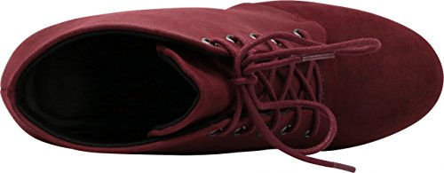 Stacked Nbpu Select Heel Ankle Women's Platform Bootie up Burgundy Chunky Cambridge Lace 0YPqwdPS