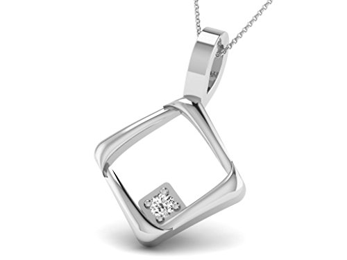 Or Blanc 18 ct Pendentifs Diamant en forme de Carré, 0.02 Ct Diamant, GH-SI, 0.7 grammes.