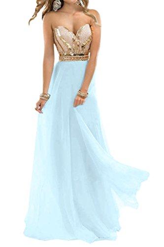 Himmelblau Steine Ivydressing Herz Lang Abendkleid Damen Promkleid A Beliebt Festkleid Chiffon Ausschnitt Linie HTwHq