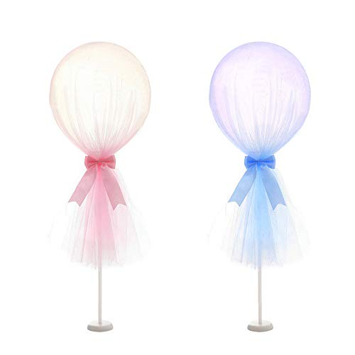 12 inch Party Latex Balloon Tutu Tulle Balloons With Column Base Kit for Baby Shower Birthday Wedding Party Decoration(Pink & Blue, 2 -