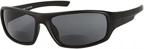 The Dapper Unisex BIFOCAL Wrap Around Reading Sunglasses, Sport Wrap Sun Readers BIFOCALS, Tinted Readers for Men and Women + 3.00 Matte Black (Microfiber Cleaning Carrying Pouch - Inexpensive Sunglasses Quality