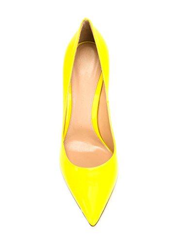 EDEFS Damen Klassische Büro Pumps Spitze Zehen Glitzer Stiletto Absatz Braut Hochzeit Schuhe mit Mehrfarbig Gelb