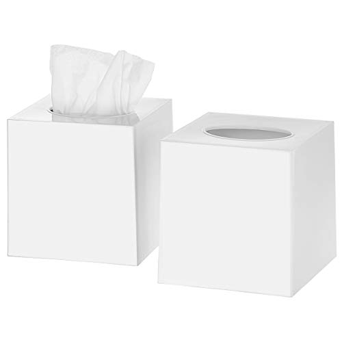 (DWËLLZA HOMË Tissue Box Cover Square - Facial Cube Tissue Box Holder Case Dispenser for Bathroom Vanity Countertop, Bedroom Dresser, Office Desk or Night Stand Table, 2 Pack - White)