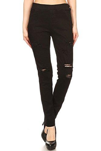 Women's Stretch Pull-On Skinny Ripped Distressed Denim Jeggings (Medium, (Denim Cotton Blends)