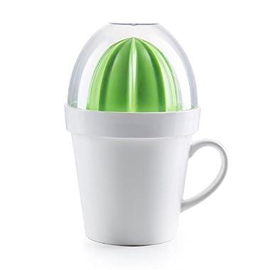 5-piece Set Citrus Juicer with Porcelain Mug for Easy Juicing of Limes, Lemons, Oranges, Looks Like a Cactus