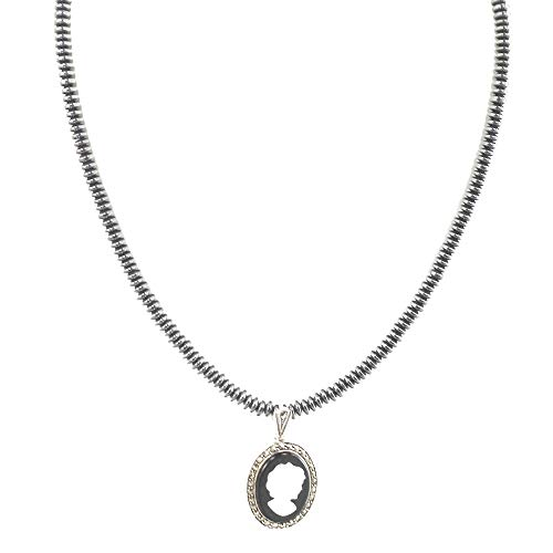 - Ny6design Mother of Pearl Cameo Marcasite Sterling Silver Pendant Hematite Necklace N18081212