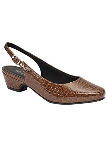 (AngelSteps Women's Adult Delia Synthetic Pumps Shoes Dress Shoes 10 Medium US Women/Brown Croco)