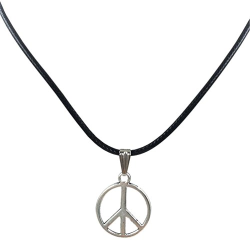 sameno 2018 Fashion Girl Women Retro Peace Necklace Pendant Black Leather Cord Choker Charm New