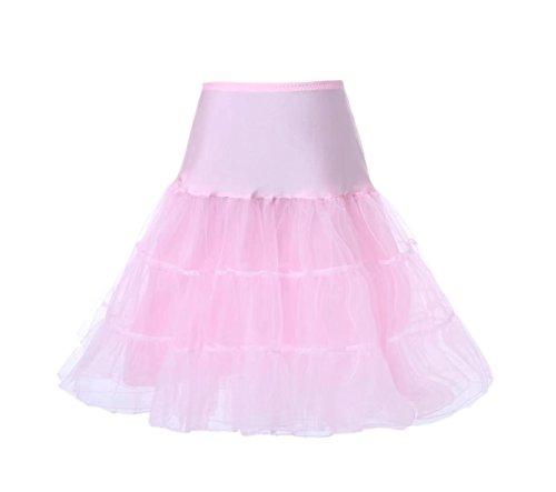 Cancan Enaguas falda vestido midi Cancan 50s Retro Rockabilly Enaguas Miriñaques Faldas vestido retro debajo de un vestido vintage Mujeres Cancan Petticoat hoopless crinoline tutu Rosa