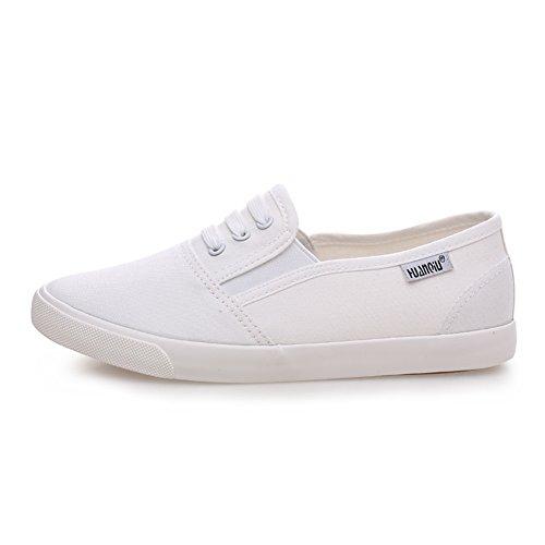 Estudiante par blancos/Zapatos de lona/Zapatos del ocio Coreano/ zapatos de transpirable con plano/Mocasín D