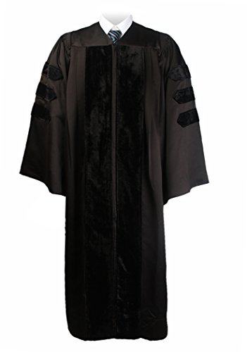 GraduationMall Unisex Classic Doctoral graduation gown Black X-Large - Doctoral Cap Gown