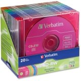 VERBATIM 94300 80-Minute/700MB 4x CD-RWs, Multicolored 20 pk with Slim Cases by VERBATIMCORPORATION