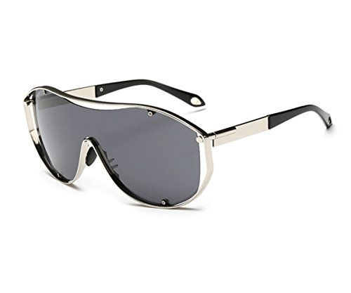 Konalla Oversized Fashion Metal Full Frame One-piece Flash Lenses Sunglasses - Sunglasses Narrow For Faces Best Small