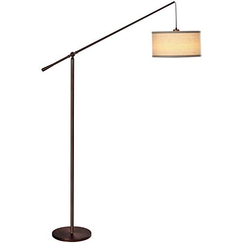 Living Room LED Arc Floor Lamp for Behind The Couch - Pole Hanging Light to Stand Up Over The Sofa - with LED Bulb- Oil Brushed Bronze ()