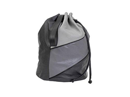 Paint Genuine Leather Grey Monochrme draw string Bag