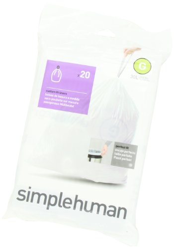 simplehuman Code G Custom Fit Trash Can Liner, 1 refill pack (20 liners), 30 Liters / 8 Gallons