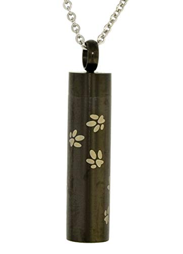 Heartfelt Pet Paw Prints On Black Cylinder Cremation Jewelry Necklace Urn Memorial Pet Keepsake Pendant for Ashes with Funnel Fill Kit