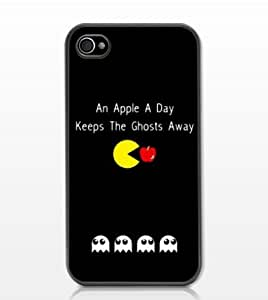 Classic Game Pacman Anti-Slip Matte Hard Case with PU Leather for iPhone 4/4S
