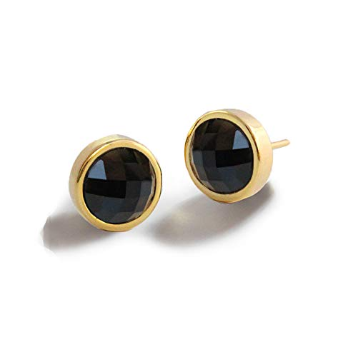 FIRE EAR STUD EARRINGS For Women | 24K Gold Round Black Onyx Gemstone | 3-Way Convertible | Hypoallergenic | Women Jewelry | Birthday Summer Bridesmaid gifts