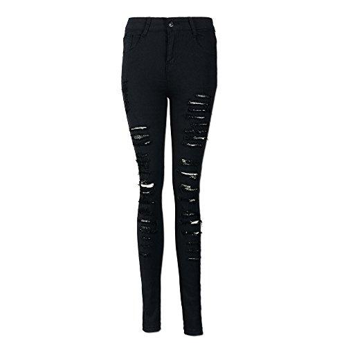 Beautyjourney Jeans Femme Taille Haute Elargisseur Pantalon Jeans Troue Femme Pantalon Femme Grande Taille Denim Skinny Pantalon Pantalon Taille Stretch Jeans Slim Pantalons Noir
