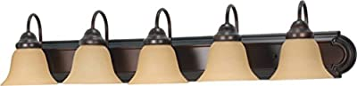 Filament Design 77779841267 5-Light Mahogany Vanity Light with Champagne Linen Washed Glass Shade, Bronze