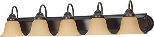 (Filament Design 77779841267 5-Light Mahogany Vanity Light with Champagne Linen Washed Glass Shade, Bronze)
