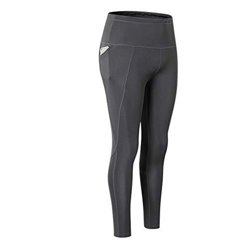 (ALLYOUNG Women's Solid High Waist Leggings Women Heart Workout Yoga Pants Mesh Leather Leggins Gray)